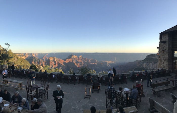 Enjoy the sunset on the Grand Canyon North Rim Lodge patio