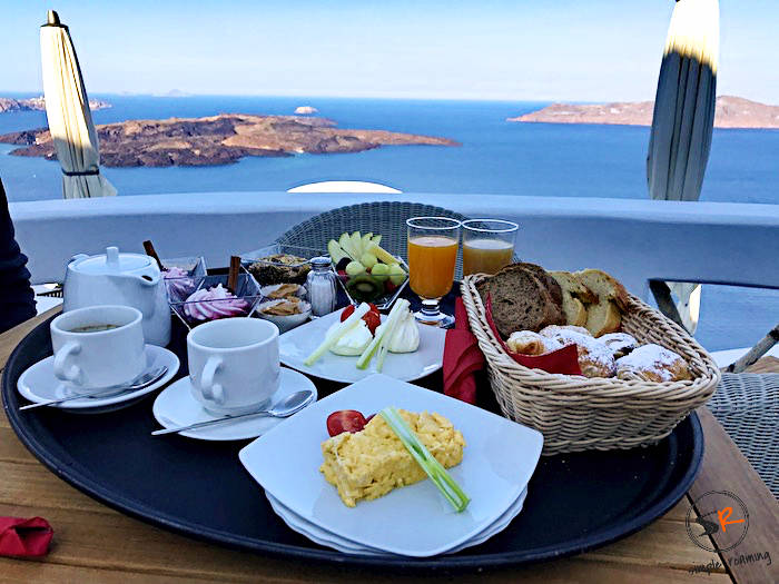 Enjoy a breakfast with a Caldera view at the Chic Hotel in Firostefani, Santorini, Greece