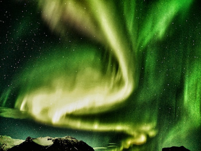 The Northern Lights over Eyjafjallajokull Volcano in Iceland